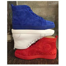 Wholesale Men Winter Fur Shoes - 16SS ever-popular! FLAT LOU Lewis suede high-cut red bottom sneaker red blue suede and white leahter luxury fashion shoes casual man