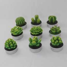 Wholesale Heart Tea Light Candles - Cactus Scented Candle Green Meat Plant Home Interior Scent Candles Romantic Green Candle Tea Light Candles Mini Lovely Gift