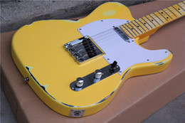 Wholesale Used Vintage - Custom Shop Deluxe Tele Caster TL Vintage Cream Antique Yellow Retro Used Esquire Blonde Electric Guitar Free Shipping String Thru Body