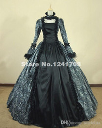 Wholesale Victorian Steampunk Dresses - Vintage Victorian Gothic Cosplay Brocade Period Dress Victorian Ball Gown Prom Reenactment Theatre Clothing Steampunk Dresses