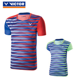 Wholesale Coloured Tables - victor badminton Shirt,men women table tennis Jersey,polyester polyester quick dry,new 2017 colour stripe tennis tshirt,tenis T-Shirts M-4XL