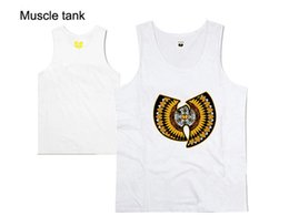 Wholesale Tank Top Gray For Boys - Wholesale- Wu Tang Muscle Tank tops for men brand design print vest boys hip hop Cheap sleeveless undershirt bodybuilding clothing