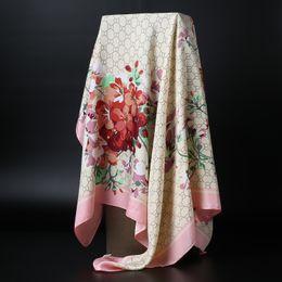Wholesale Wholesale Ladies Winter Scarves - Autumn Winter New Silk Imitation lady Flowers Print shawls Women's Scarf square Wraps 90x90cm