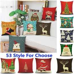 Wholesale Dog Reindeer - 53 Design New Christmas Pillow Case Santa Claus Reindeer Owl Tree Elk Bear Cat Dog Printed Cushion Cover Home Car Decor Decoration HH7-110