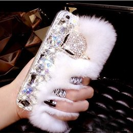 Wholesale Rabbit Fur Iphone Case - For iPhone X Luxury Rabbit Hair Fur Fox Head Cases Bling Diamond Rhinestone Soft TPU Shockproof Protection Case cover For iPhone 8 7 Plus 6
