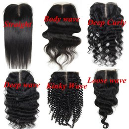 Wholesale Deep Wave Middle Part Closure - Virgin Brazilian Human Hair Full Lace Closure 4x4inch lace middle part 8-24inch Straight Body Deep Kinky Loose Culry wave hair extensions