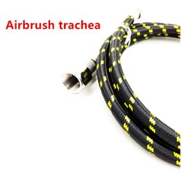 "Wholesale Airbrush Hoses - 6' Braided 1 4"" - 1 8"" Fitting Ends Coupling Adapter Iwata Master Airbrush Hose Woven with Quick Coupling Airbrush Trachea"