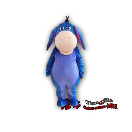 Wholesale S Dolls - High quality blue donkey mascot cartoon doll clothing adult size high quality plush cloth as fashion free shipping