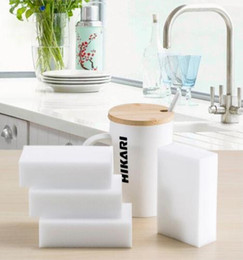 Wholesale Multi Cleaner - 100pcs lot Multi-function Magic Melamine Sponge Eraser Cleaner Household Cleaning Sponges Tools Kitchen Bathroom 100x60x20mm Scouring Pads