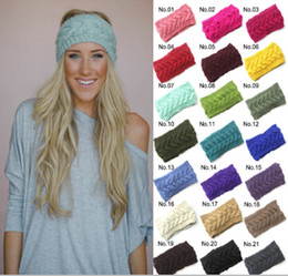 Wholesale Crochet Women Headbands Wholesale - Fashion Women Crochet Headband Fashion Wool Crochet Headband Knit Hair band Winter Warm headbands Girls Headwrap women Hair Accessories D492