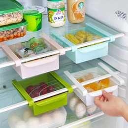 Wholesale Wholesales Freezer - 4 Pcs lot Plastic Kitchen Refrigerator Storage Rack Fridge Freezer Shelf Holder Pull-out Drawer Organiser Space saver