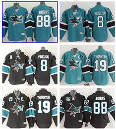 Wholesale Mens Hockey Jerseys - 2016 San Jose Sharks Stanley Cup Mens Ice Hockey Jersey #88 Brent Burns #8 Joe Pavelski #19 Joe Thornton Stitched Hockey Jerseys Mix order