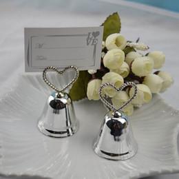"Wholesale Kissing Bell Card Holders - ""Kissing Bell"" Place Card Photo Holder Heart Bell Place Card Holder Silver Metal Wedding Favors 100pcs lot"