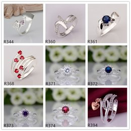 Wholesale Wholesale Gemstone Fashion Rings - 10 pieces mixed style women's gemstone sterling silver ring ,high grade burst models fashion 925 silver ring GTR54 online for sale