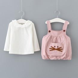 2019 la neonata porta l'abito Cancella Sotck Neonate Orso Pocket Suspender Abiti Outfit 2018 Autunno Kids Boutique Abbigliamento Little Girls maniche lunghe 2 pezzi Set
