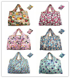 Wholesale Vegetable Eco Friendly Bag - 6Styles Kawaii Tsum Tsum Snoopy Stitch Doraemon Canvas Shopping Bags 45*42cm Foldable Eco-friendly Reusable Market Tote Large Capacity Bags