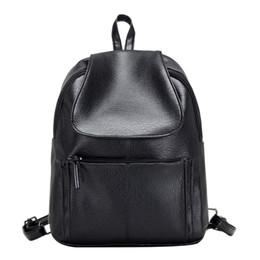 Wholesale Minimalist Designs - Wholesale- Women Leather Backpack Minimalist Solid Black School Bags For Teenagers Girls Feminine Backpack Simple Design Rucksack Bolsa