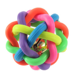 Wholesale Toy Materials - Hot Sales Dog Toys Dog Accessories With Bell Pet Cat Play Woven Ball Rainbow Color Rubber Material Durable Chews Ball Toy