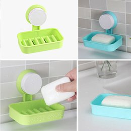 Wholesale Travel Cup Holder Tray - Candy Color Toilet Suction Cup Holder Bathroom Shower Soap Dish Home Hotel Travel Soap Dish tray Wall Holder Storage Box
