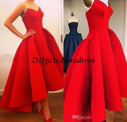 Wholesale Skirt Pleated Short Front - Long Red Ball Gown Evening Dresses 2016 Real Sample High Low Sweetheart Satin Women Formal Occasion Wear Arabic Short Front Prom Party Skirt