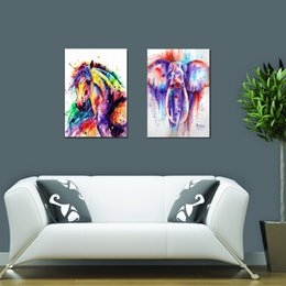 Wholesale Horse Art Canvas Set - 2pcs set Unframed Canvas Painting Printed On Canvas Art Animal Watercolor Horse & Elephant Wall Pictures For Living Room Home Decor