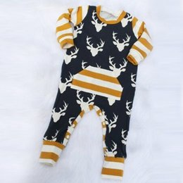 Wholesale Girls Xmas Gifts - Baby Christmas Elk Jumpsuit Infants Xmas David's deer Rompers kids long sleeve striped romper outfits for boys girls festivals gifts
