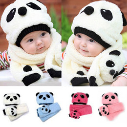 Wholesale Sets Panda Girls - 2pcs set Autumn Winter Baby Wool Panda Velvet Ear Muff Cap Children Kids Warm Crochet Beanie Scarf cap Sets infant Plush Hat SEN130
