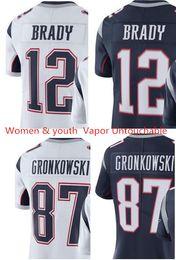 Wholesale Gronkowski Jersey White - Women youth 12 Tom Brady 87 Rob Gronkowski jersey womens kids Vapor Untouchable blue white 100% stitched jerseys