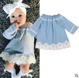 Wholesale Jeans Children Girl Dress - Baby girls jeans dresses kids lace embroidery dress toddler kids slash neck lace hollow denim dress children autumn denim clothing T0375