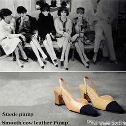 Wholesale Khaki Autumn Dresses - 2016luxury brand new arrival Paris catwalk heels shoes autumn Collection Leather and Suede Slings Women's Pump
