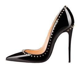 Wholesale Size Black Sexy Shoes - ZK women's sexy fashion high heels 12cm rivets shoes red bottom thin heels fashion pumps shoes EUwith size 34--45