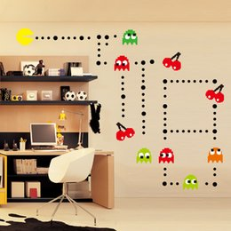 Wholesale Bedroom Design Men - Pac Man Removable Wall Stickers for childrens Room Cartoon Home Decor DIY Poster kids room Decoration Classic 10PCS LOT