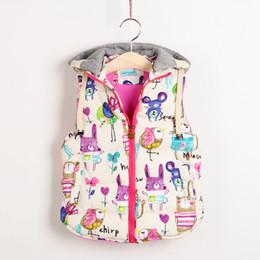 Gilet de bébé coréen en Ligne-Automne Coréenne Vêtements Pour Enfants Fille Bébé Birdie Doodle Gilet Fille Automne Gilet Gilet