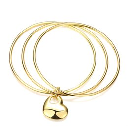 Wholesale Stacking Bangles - Gold Accents Stack Slip-on Bangle Bracelets with Lovely Puff Heart Dangling Charm