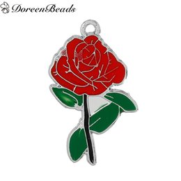 "Wholesale Silver Tone Metal Charms - Zinc Metal Alloy Pendants Rose Flower Silver Tone Red & Green Enamel 3.6cm(1 3 8"") x 2.1cm(7 8""), 10 PCs 2016 new Free shipping jewelry maki"