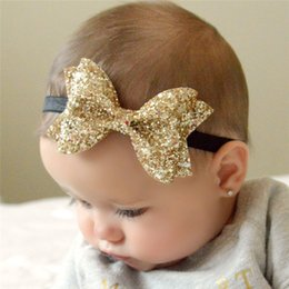 Wholesale Girls Bow Tie Fashion - Fashion Children Girls Shinning Gold Bow Tie Headband Kids Baby Hair Band Party Hair Accessories High Quality Free Shipping 7 Colors KHA270