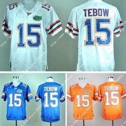 Canada Nouveau gros Floride # 15 Tim Tebow Limited Gators Orange blanc bleu Jersey Amérique College Football Jersey broderie Logos cousu Jersey Offre