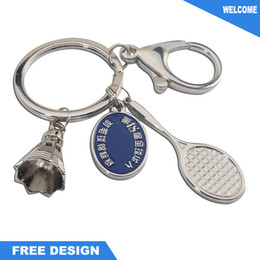 Wholesale Badminton Keychains - Zinc Alloy Metal Badminton Keychain Sport keychain Cute Gift Keychain in China
