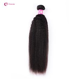 Wholesale 12 Inch Remy Cheap - 1 2pcs lot Virgin Brazilian Kinky Straight Human Hair Weaves Cheap Unprocesse Peruvian Hair Weft Soft Remy Forawme Hair #1B 10-30inch
