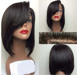 Wholesale Half Lace Wig Cheap - 2015 new design full lace bob wigs indian remy front lace wigs natural color cheap human hair wigs 130%density with natural hairline