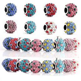 silberne runde armbänder Rabatt 8 Farben Kristall Runde Kugeln Silber Charm Perlen für Pandora Armbänder Halskette
