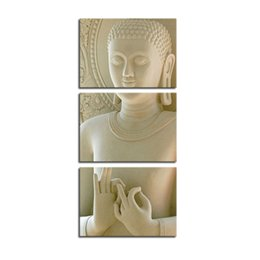 Wholesale Modern Buddha Oil Painting - 3 Panles White Buddha Canvas Paintings Wall Art Peaceful Buddha Picture Printed For Modern Home and Living Room Wall Decoration