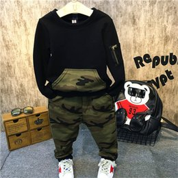 Wholesale 4t Camouflage Clothes - Retail 2016 New Children Clothing Sets Kids Boys Clothes Outfits Cotton Hoodies Camouflage pants Clothing Set WYY07