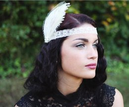 Wholesale Dancing Women Ornament - 2017 hot sale dance party headbands Retro 1920s Eliana feather lace head with a diamond lace hair band women hair ornaments