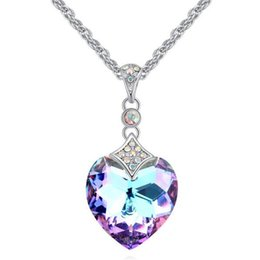 Wholesale Brides Necklace Charms - Fashion High Quality Crystal from Swarovski Heart Pendant Necklace For Women Gift Bride Wedding Jewelry 25228