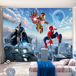 Wholesale Batman Decor - Custom 3D Photo wallpaper Batman Iron Man Wallpaper Spider-Man Wall Murals Boys Bedroom Living room TV backdrop wall Room decor Super Hero