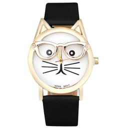 Relógios a quartzo on-line-Novo Design Senhoras relógios Montre femme Bonito Óculos Gato Analógico Quartz Dial Relógio De Pulso Das Mulheres Se Vestem Relógios Relogio feminino