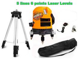 Ebene stative online-Wholesale-360 selbstnivellierenden Laser Level 5 Linien 6 Punkte, Drehkreuz Laser Linie Nivellierung / Laser Nivelliergerät, mit Stativ