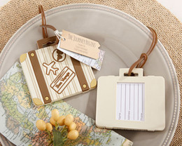 Wholesale Vintage Wedding Favor Tags - Wholesale- (30PCS LOT) Wedding decorations of Let the Journey Begin Vintage Suitcase Luggage Tag for travel themed wedding and party favor