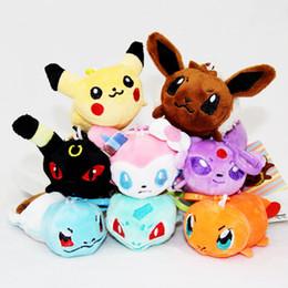 Wholesale Pokemon Plush Keychain - 3.2 Inch Poke Pokémon go Plush dolls toys EMS 8cm 8 style children Sylveon Pikachu Charmander Jeni turtle Keychain Pendants B